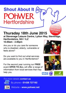 POhWER Herts - Shout About It Event 2015 (A3 and A4 poster)