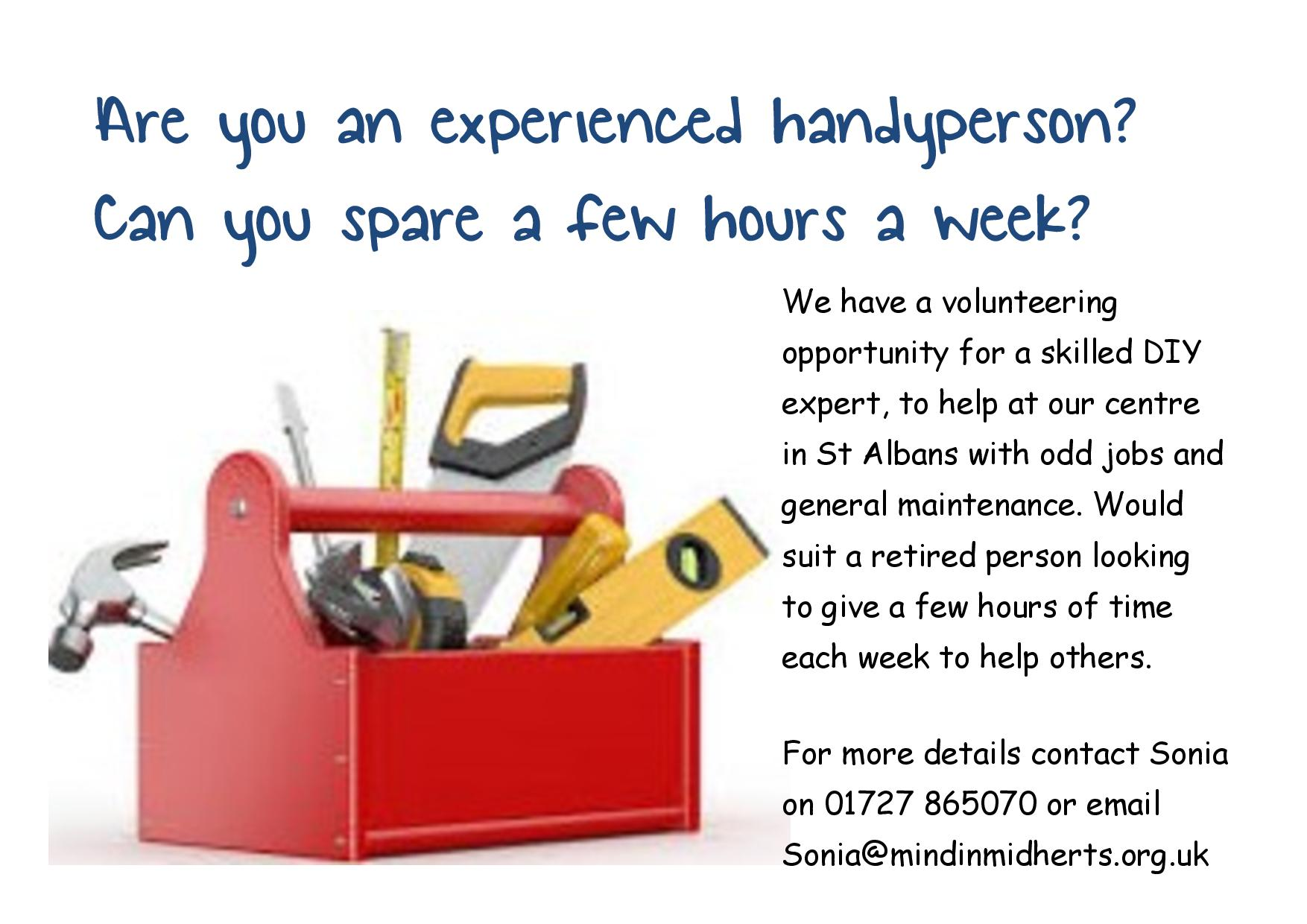 are you an experienced handyperson can you spare a few hours a week