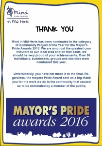 Mayor's Pride Award 2016 poster
