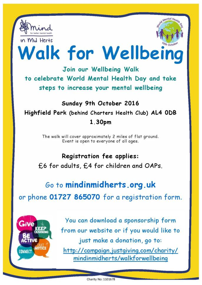 Walk For Wellbeing Poster 2016 Page 001 Join Our To Celebrate World Mental Health Day