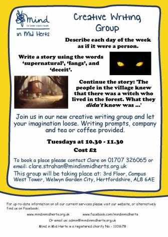 Creative Writing Group  Mind In Mid Herts Creative Writing Group